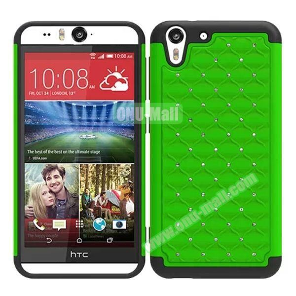 Bling Diamond Studded Hybrid Silicone and PC Case for HTC Desire Eye (Green)