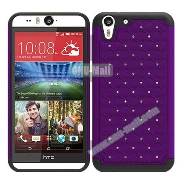 Bling Diamond Studded Hybrid Silicone and PC Case for HTC Desire Eye (Purple)