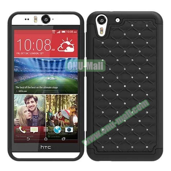 Bling Diamond Studded Hybrid Silicone and PC Case for HTC Desire Eye (Grey)