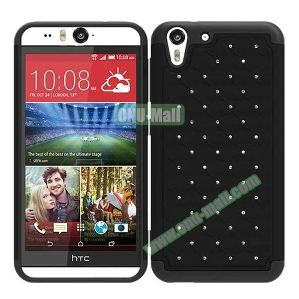 Bling Diamond Studded Hybrid Silicone and PC Case for HTC Desire Eye (Black)
