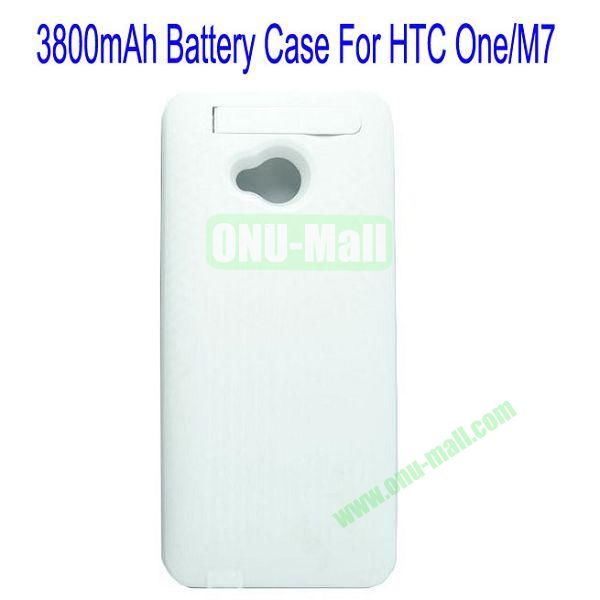 3800mAh Battery Case for HTC One M7801e With Stand (White)