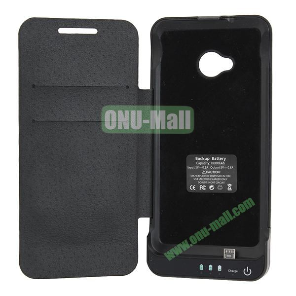 Newest 3800mAh Flip Battery Leather Case Cover for HTC One M7801e With Stand(Black)