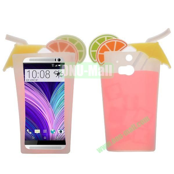 Sweet 3D Fruit Juice Cup Design Silicone Case for HTC One M8 One 2 (Rose)