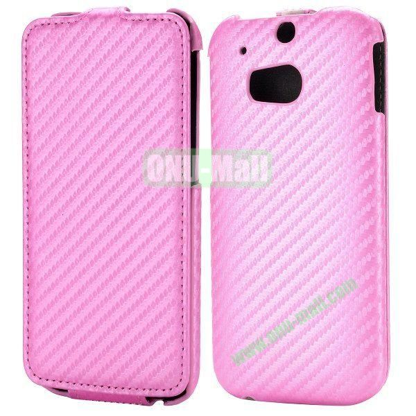 Carbon Fiber Texture Vertical Flip Leather Case for HTC One 2 M8 (Pink)