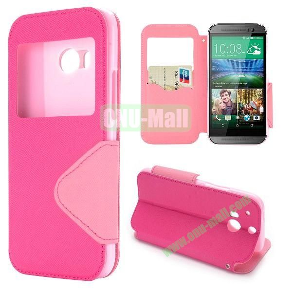 Double Color Cross Texture Foldable Magnetic Leather Case for HTC One 2 M8 (Rose)