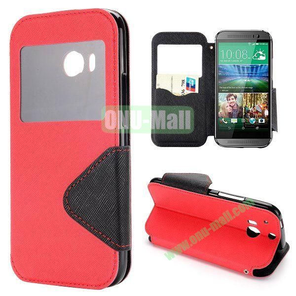 Double Color Cross Texture Foldable Magnetic Leather Case for HTC One 2 M8 (Red)