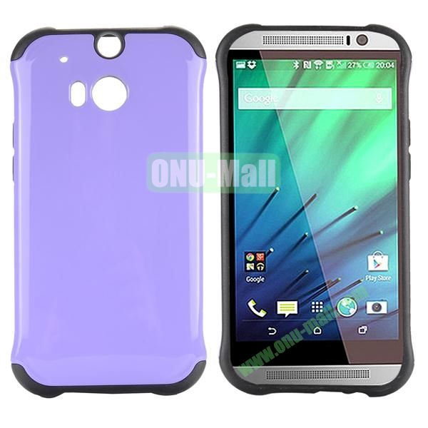 Two in One Pattern PC and TPU Hybrid Case for HTC One M8 (Purple)