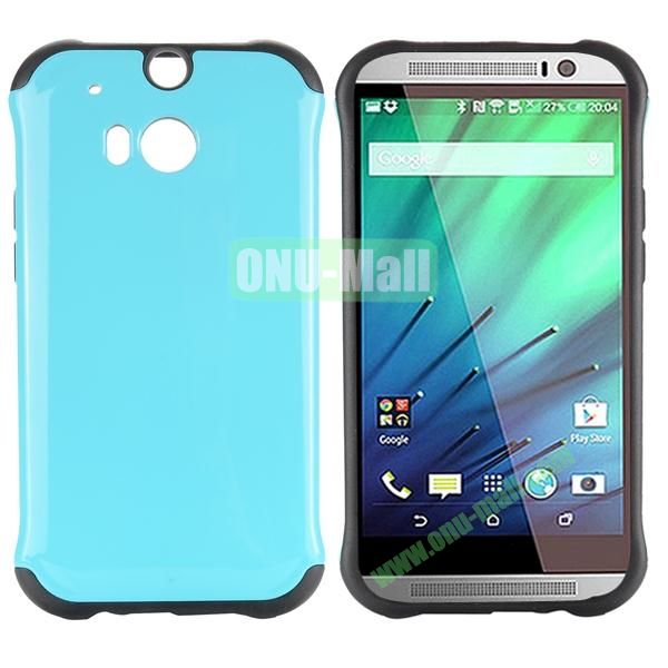 Two in One Pattern PC and TPU Hybrid Case for HTC One M8 (Blue)