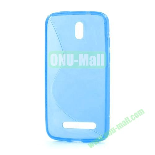 S Shape TPU Case for HTC Desire 500  506E (Blue)