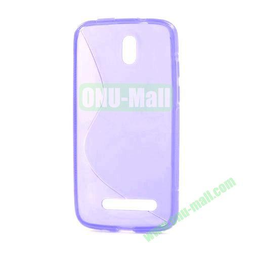 S Shape TPU Case for HTC Desire 500  506E (Purple)