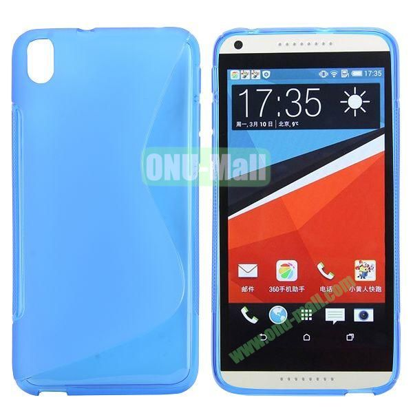 S Shape Frosted TPU Case For HTC Desire 816800A5 (Blue)