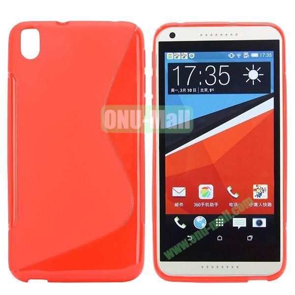 S Shape Frosted TPU Case For HTC Desire 816800A5 (Red)