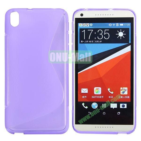 S Shape Frosted TPU Case For HTC Desire 816800A5 (Purple)