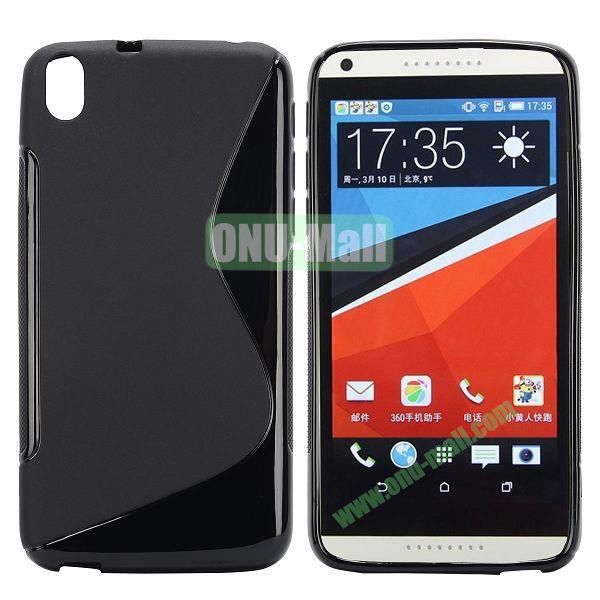 S Shape Frosted TPU Case For HTC Desire 816800A5 (Black)