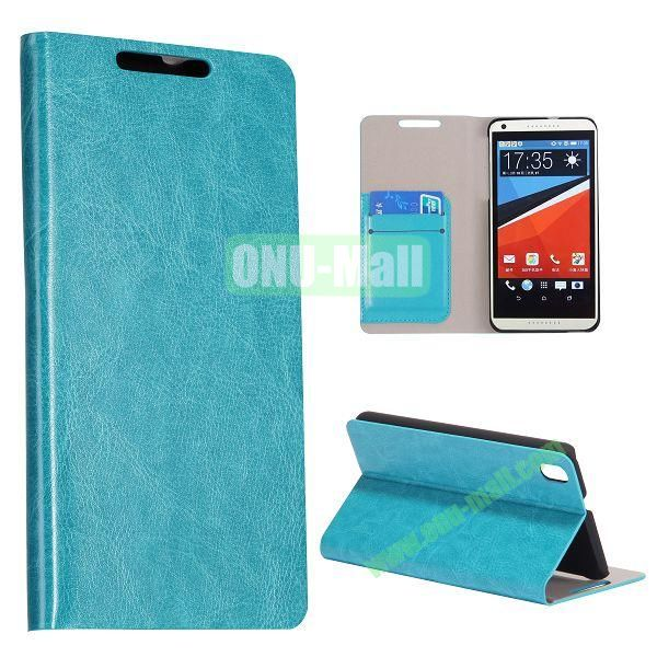 Crazy Horse Texture Flip Stand PC + PU Leather Case For HTC Desire 816 with Card Slots (Cyan)