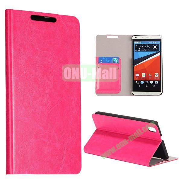 Crazy Horse Texture Flip Stand PC + PU Leather Case For HTC Desire 816 with Card Slots (Rose)