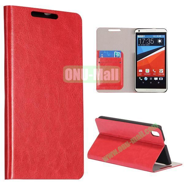 Crazy Horse Texture Flip Stand PC + PU Leather Case For HTC Desire 816 with Card Slots (Red)