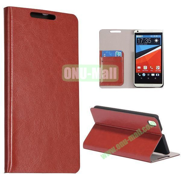 Crazy Horse Texture Flip Stand PC + PU Leather Case For HTC Desire 816 with Card Slots (Brown)