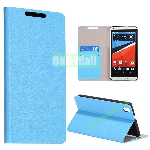 Wood Texture Flip Stand PC + PU Leather Case For HTC Desire 816 with Card Slots (Blue)