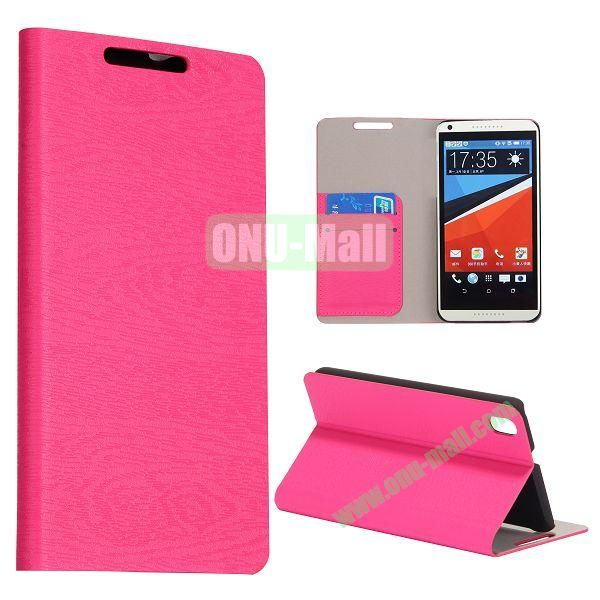 Wood Texture Flip Stand PC + PU Leather Case For HTC Desire 816 with Card Slots (Rose)