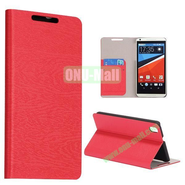 Wood Texture Flip Stand PC + PU Leather Case For HTC Desire 816 with Card Slots (Red)