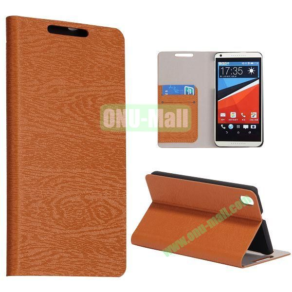 Wood Texture Flip Stand PC + PU Leather Case For HTC Desire 816 with Card Slots (Brown)