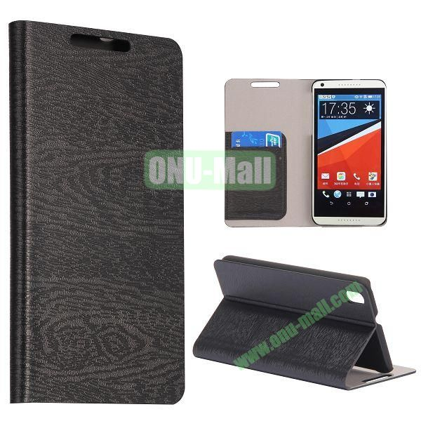 Wood Texture Flip Stand PC + PU Leather Case For HTC Desire 816 with Card Slots (Black)