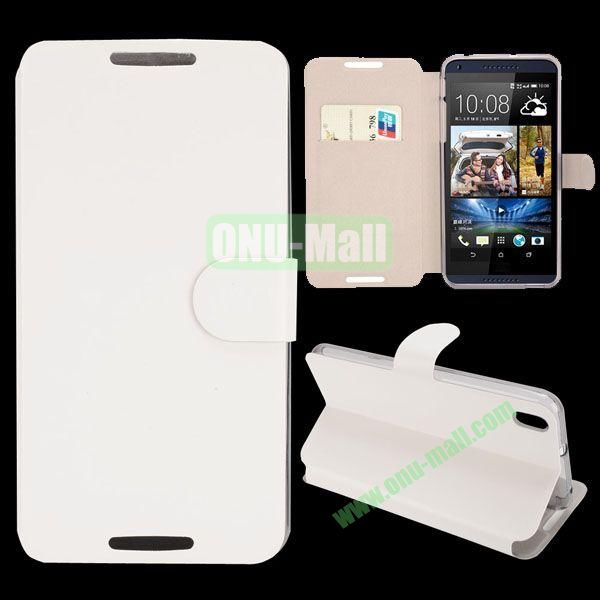 Crazy Horse Texture Magnetic Flip Stand Leather Case For HTC Desire 816 with Card Slot (White)