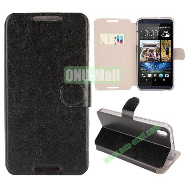 Crazy Horse Texture Magnetic Flip Stand Leather Case For HTC Desire 816 with Card Slot (Black)
