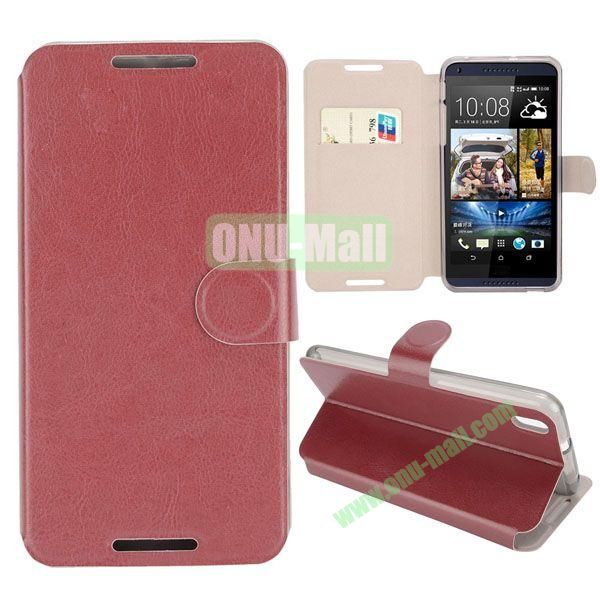 Crazy Horse Texture Magnetic Flip Stand Leather Case For HTC Desire 816 with Card Slot (Brown)