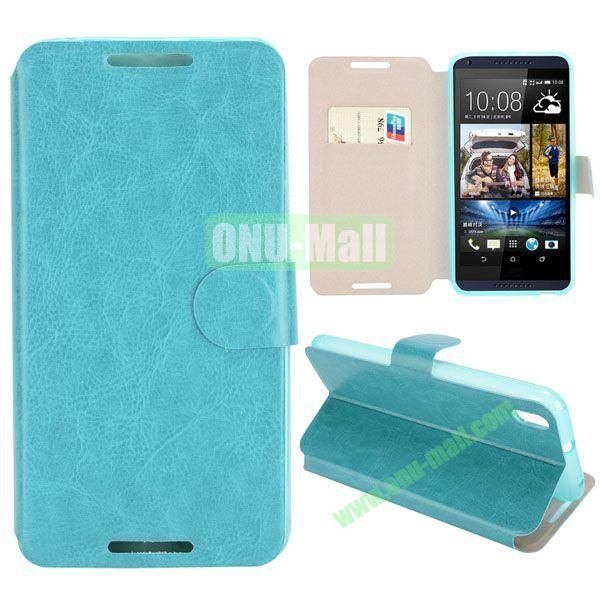 Crazy Horse Texture Magnetic Flip Stand Leather Case For HTC Desire 816 with Card Slot (Cyan)