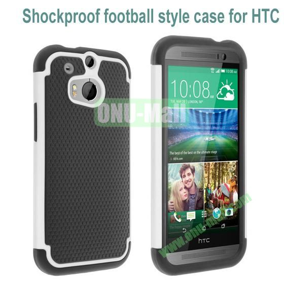 2 in 1 Football Pattern Defender Hard Case for HTC One M8  One 2 (White)