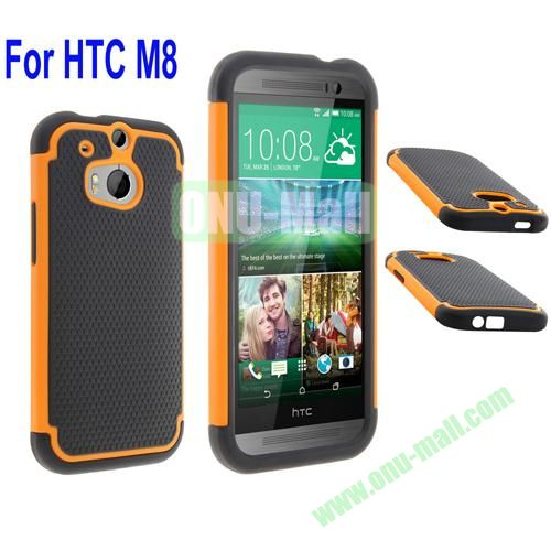 2 in 1 Football Pattern Defender Hard Case for HTC One M8  One 2 (Orange)