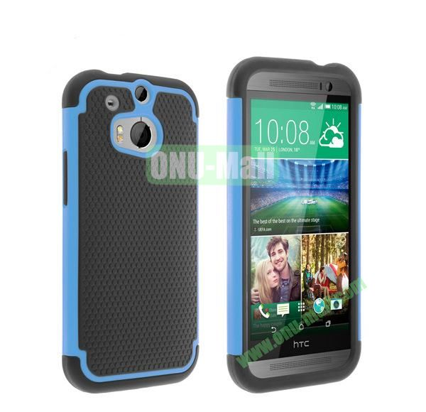 2 in 1 Football Pattern Defender Hard Case for HTC One M8  One 2 (Baby Blue)