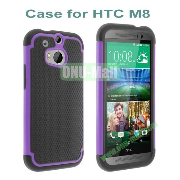 2 in 1 Football Pattern Defender Hard Case for HTC One M8  One 2 (Purple)