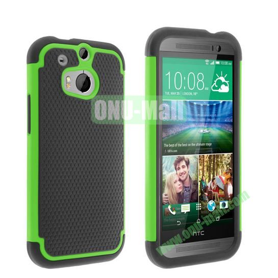 2 in 1 Football Pattern Defender Hard Case for HTC One M8  One 2 (Green)