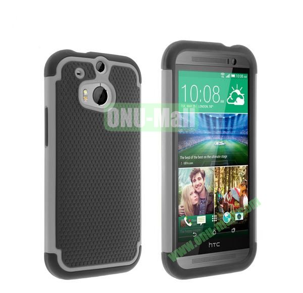 2 in 1 Football Pattern Defender Hard Case for HTC One M8  One 2 (Grey)
