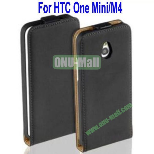 New Arrival Genuine Leather Case Cover for HTC One MiniM4(Black)