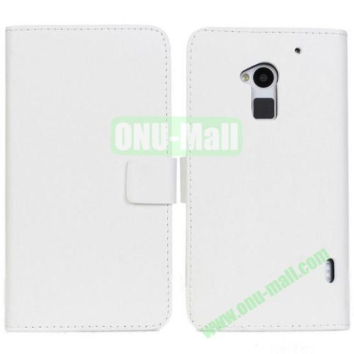 PU Material Leather Case with Card Slots and Holder for HTC One MAXT6 (White)