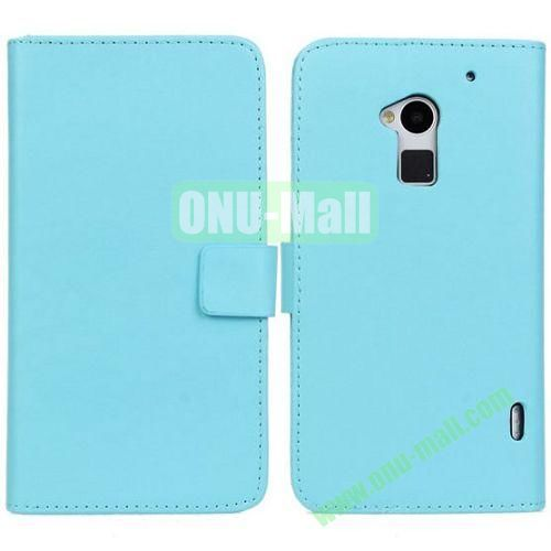 PU Material Leather Case with Card Slots and Holder for HTC One MAXT6 (Blue)