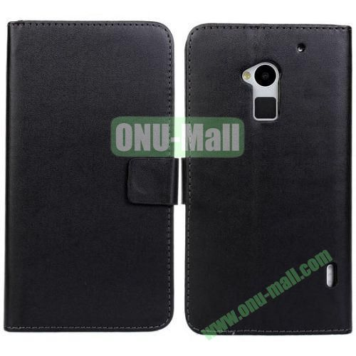 PU Material Leather Case with Card Slots and Holder for HTC One MAXT6 (Black)