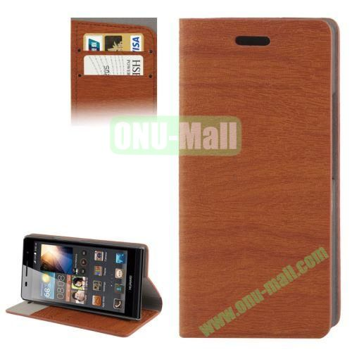 Wood Texture Leather Case for Huawei Ascend P6 with Credit Card Slots & Holder (Brown)