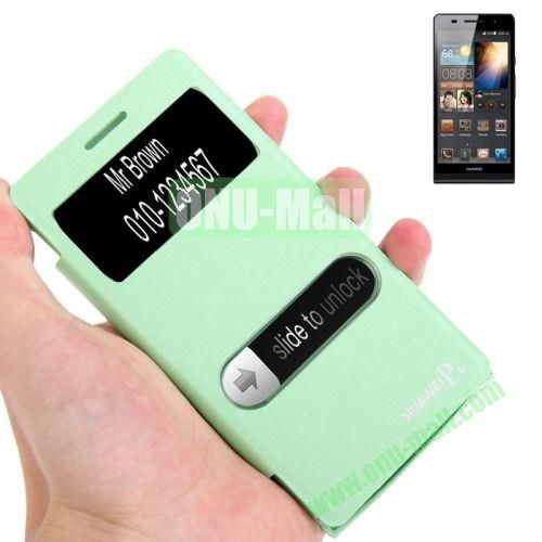 Horizontal Flip Leather Cover + Metal Brushed Paste Plating Plastic Case for Huawei Ascend P6 with Call Display ID (Green)