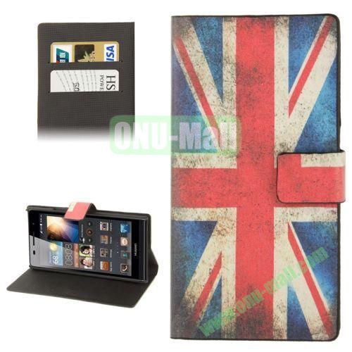 UK Flag Pattern Leather Case for Huawei Ascend P6 with Credit Card Slot & Holder