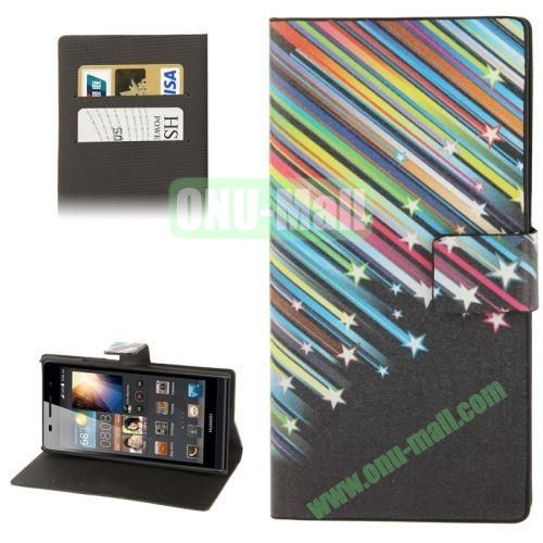 Colorful Meteor Pattern Leather Case for Huawei Ascend P6 with Credit Card Slot & Holder