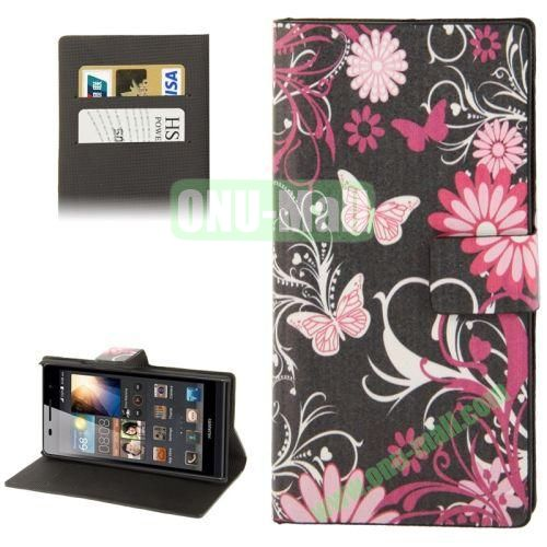 Butterflies over Pattern Leather Case for Huawei Ascend P6 with Credit Card Slot & Holder