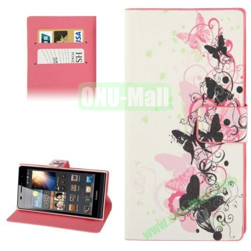 Dancing Butterflies Pattern Leather Case for Huawei Ascend P6 with Credit Card Slot & Holder