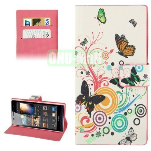 Butterfly Pattern Leather Case for Huawei Ascend P6 with Credit Card Slot & Holder