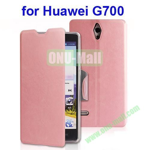 Crazy Horse Texture Leather Case for Huawei Ascend G700 with Holder (Pink)