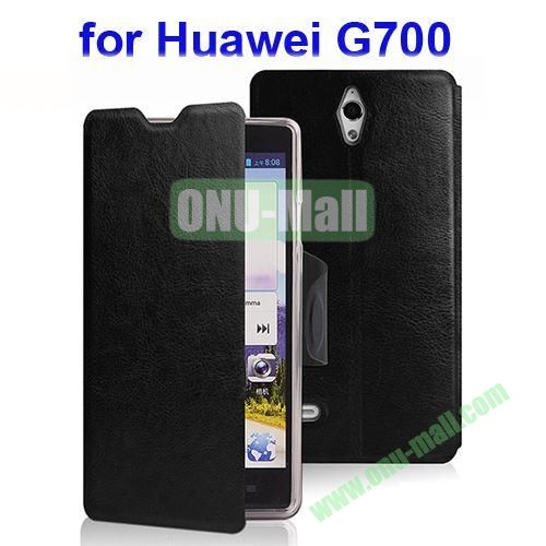 Crazy Horse Texture Leather Case for Huawei Ascend G700 with Holder (Black)